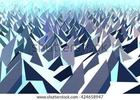 3D Illustration - Abstract low poly background of pyramid shapes - stock photo