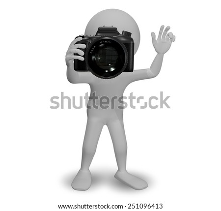 3d Illustration Abstract Man with a Camera - stock photo