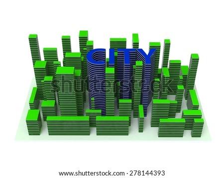 3d illustration architecture city - stock photo