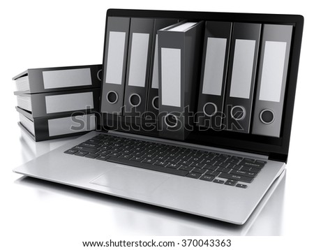 3d illustration. Archive concept. Laptop and files on isolated white background - stock photo