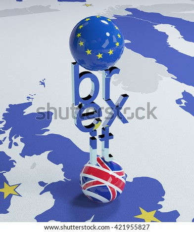 3d illustration - balance in Europe - Brexit  - stock photo