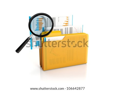3d illustration: Big yellow folder with a magnifying glass. Finding a file - stock photo