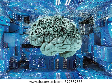 3D illustration,  brain disintegrates - stock photo