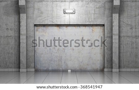3d illustration. Building made of concrete with roller shutter door. Garage concept. - stock photo