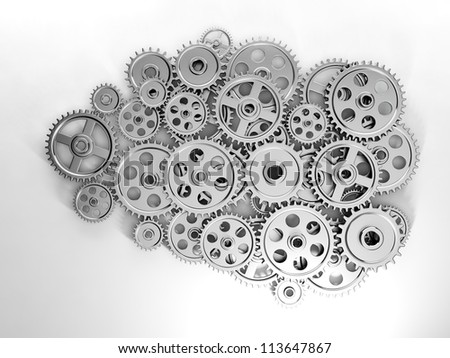 3d Illustration: Business ideas. Brain in gear made ??of the generation of new ideas - stock photo