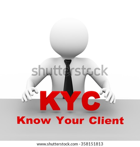 3d illustration business man with kyc know your client abbreviation text. 3d human person character and white people - stock photo