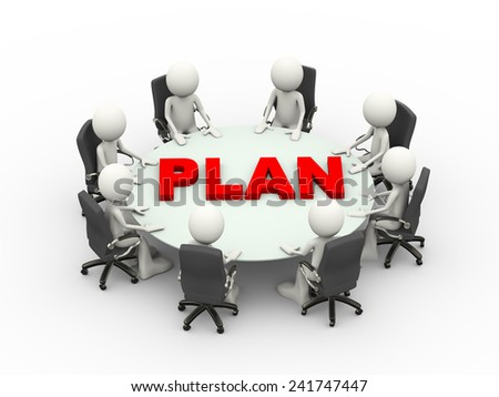 3d illustration business people sitting around a conference table with word plan and discussing business meeting. 3d human person character and white people - stock photo