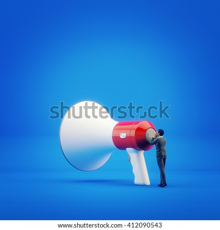 3D illustration, businessman shouting into megaphone. Concept - communication and teamwork - stock photo