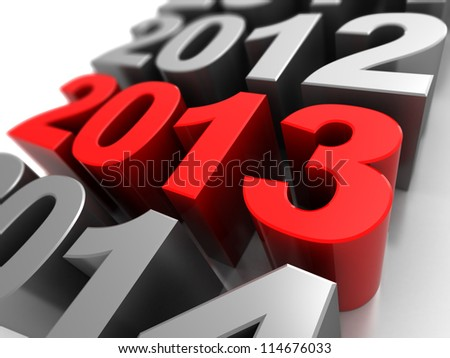 3d illustration, calendar symbol with number 2012,2013, 2014 - stock photo