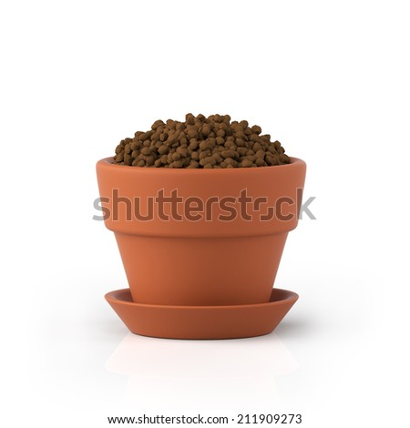 3D illustration. Clay pot with the earth on a white background - stock photo
