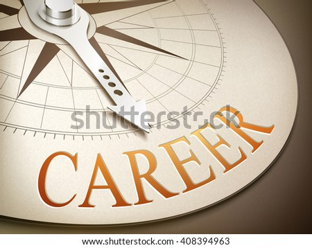 3d illustration compass needle pointing the word career - stock photo