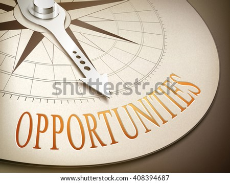 3d illustration compass needle pointing the word opportunities - stock photo