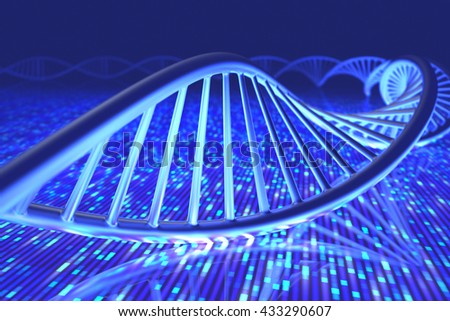 3D illustration, concept of DNA and Senger sequence. - stock photo