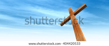 3D illustration conceptual wood cross or religion symbol shape over a blue sky with clouds background for God, Christ, Christianity, religious, faith, holy, spiritual, Jesus, belief or resurection - stock photo