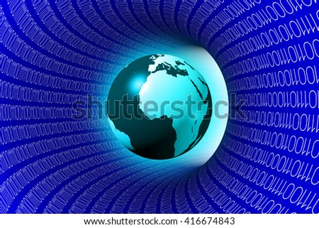 3D illustration/ 3D rendering - binary code and an Earth - great for topics like Internet, connection, data transfer, global communication, fiber optics etc. - stock photo