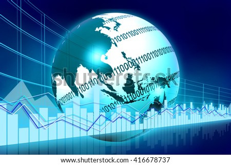 3D illustration/ 3D rendering - Earth and business chart - great for topics like global business, global finance, international business etc. - stock photo