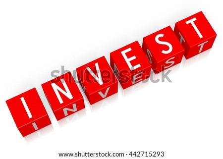 3D illustration/ 3D rendering - Invest - 3D cube word - stock photo