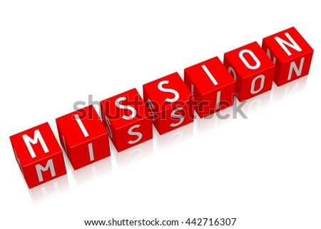 3D illustration/ 3D rendering - Mission - 3D cube word - stock photo