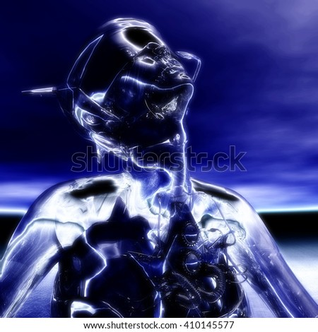 3D Illustration; 3D Rendering of a Cyborg - stock photo