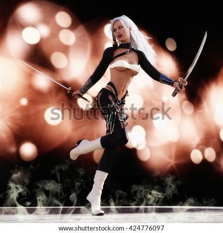 3D Illustration; 3D Rendering of a female Fantasy Warrior - stock photo