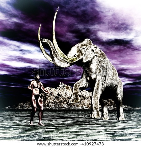 3D Illustration; 3D Rendering of a Mammoth with prehistoric man  - stock photo