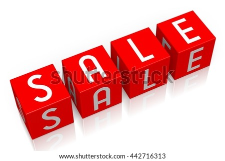 3D illustration/ 3D rendering - Sale - 3D cube word - stock photo