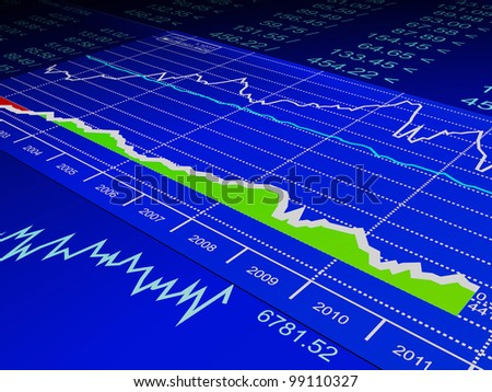 3d illustration: drawing from the sale of stock exchanges, business - stock photo