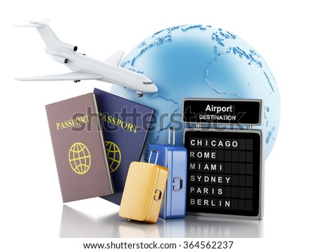 3d illustration. Earth, Airport board, passport and travel suitcases. Airline travel concept. Isolated white background - stock photo