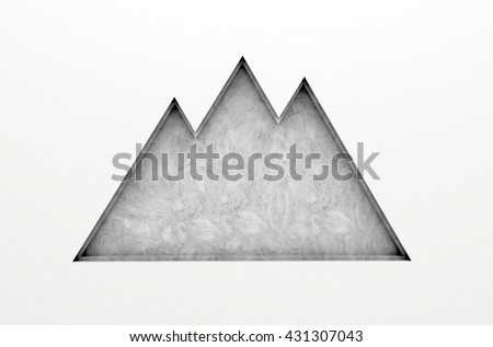 3D illustration , Empty mountain shelves on gray background,empty shelves ready for product display montage - stock photo
