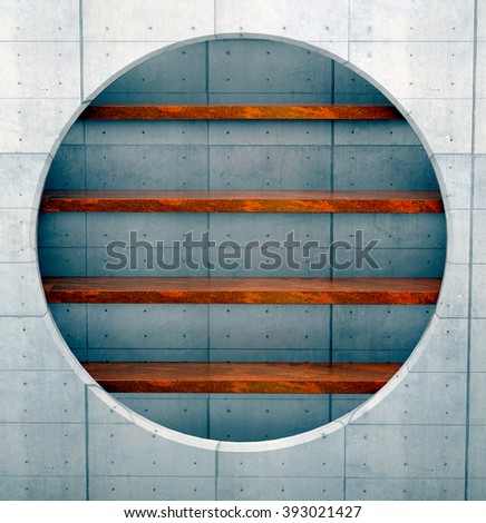 3D illustration, Empty steel shelf in a concrete architecture socket. - stock photo