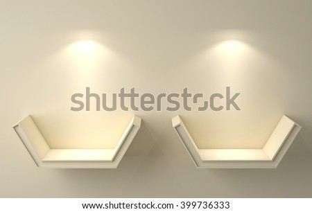 3D illustration , Empty yellow shelves on background with down-light - stock photo