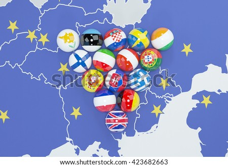 3d illustration - eu flags on eu map 2 - stock photo