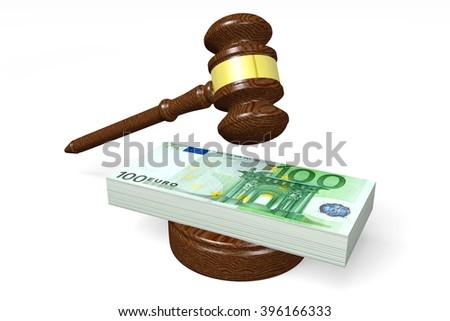 3D illustration - 100 Euro - auction concept - stock photo