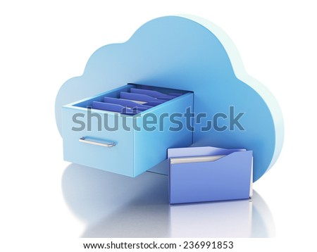 3d illustration. File storage in cloud. Cloud computing concept - stock photo