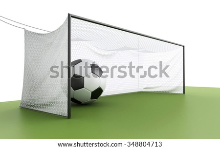 3d illustration. Football Goal with Soccer ball. Sports concept. - stock photo