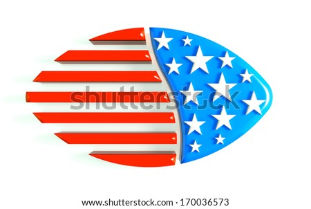 3D Illustration Football USA - stock photo