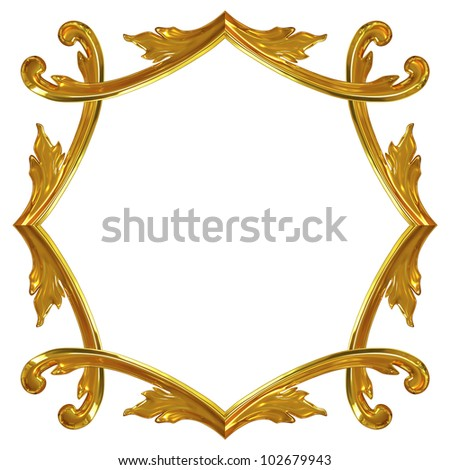 3d illustration gold ornamentation for interior decoration - stock photo