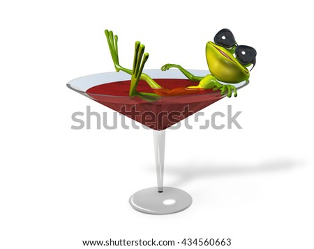 3D illustration green frog in a glass of wine - stock photo
