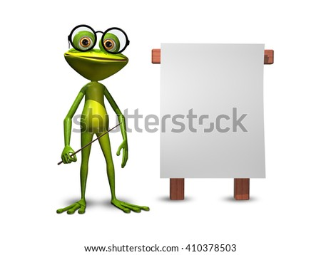 3d Illustration green frog with a pointer and a white background - stock photo