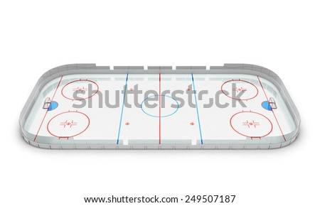 3d illustration hockey arena isolated on white background. - stock photo