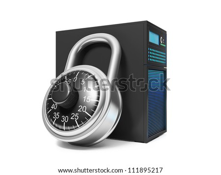 3d illustration: Information Security. Server and security lock - stock photo