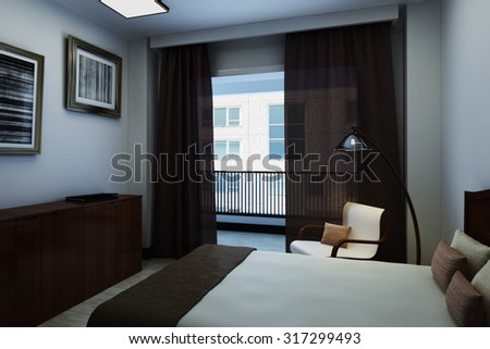 3d illustration interior light room with balcony, a room filled with dark wood furniture. The image also contains paintings, lamps, curtains, and a laptop. - stock photo