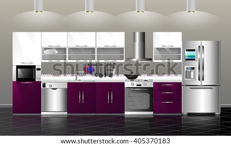 3D Illustration kitchen. Household kitchen appliances: cabinets, shelves,gas stove, cooker hood, refrigerator, microwave, dishwasher, cookware - stock photo