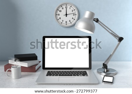 3D illustration laptop and books, Workspace - stock photo