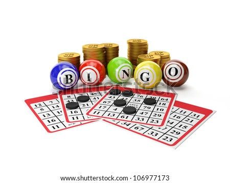 3d illustration: Lottery Bingo and a group of gold coins. Gamble - stock photo