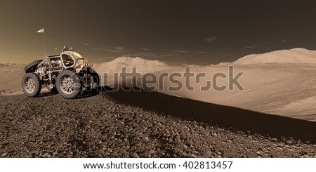 3D Illustration - Manned Martian ATV approaches crater basin - stock photo