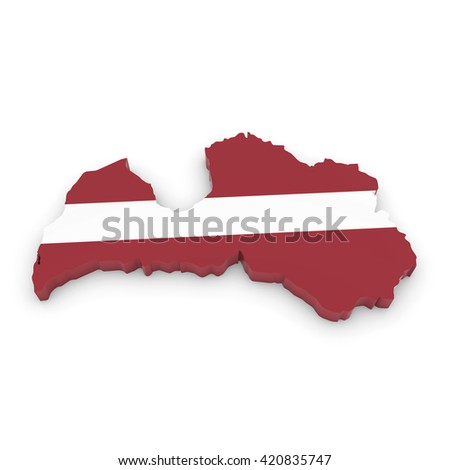 3D Illustration Map Outline of Latvia with the Latvian Flag - stock photo