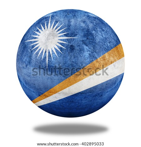 3D illustration Marshall Islands flag pattern on stone circle shape texture - stock photo