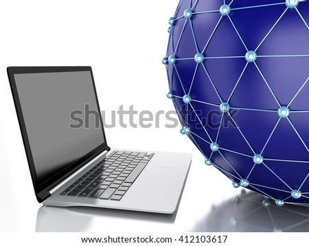 3d Illustration. Network globe with laptop. Network Communications concept. Isolated white background. - stock photo
