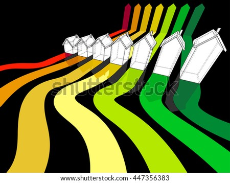 3d illustration od energy rating diagram with seven houses certified in seven energetic classes  - stock photo